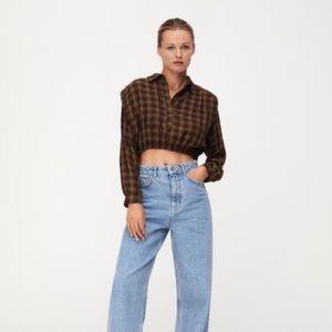 Zara plaid shoulder blouse crop